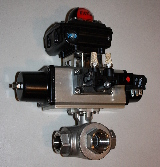 Spring Return Pneumatic Actuator with Pilot Solenoid Valve and Limit Switch Mounted to 3-Way Stainless Steel Ball Valve